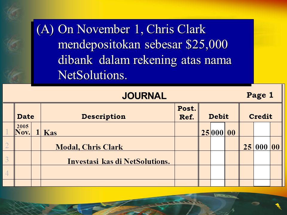 Post. Ref. JOURNAL DateDescriptionDebitCredit Page 1 12341234 Nov.1 2005 Kas25 000 00 Modal, Chris Clark25 000 00 Investasi kas di NetSolutions. (A)On