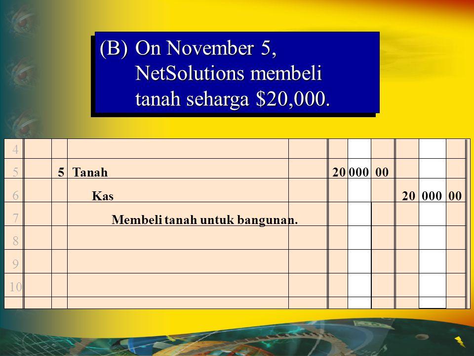 4 5 6 7 8 9 10 5Tanah20 000 00 Kas20 000 00 Membeli tanah untuk bangunan. (B)On November 5, NetSolutions membeli tanah seharga $20,000.