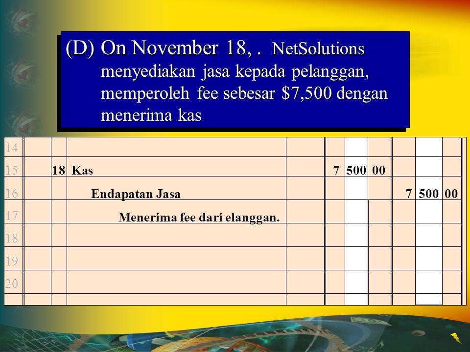 (D)On November 18,. NetSolutions menyediakan jasa kepada pelanggan, memperoleh fee sebesar $7,500 dengan menerima kas 18Kas7 500 00 Endapatan Jasa7 50