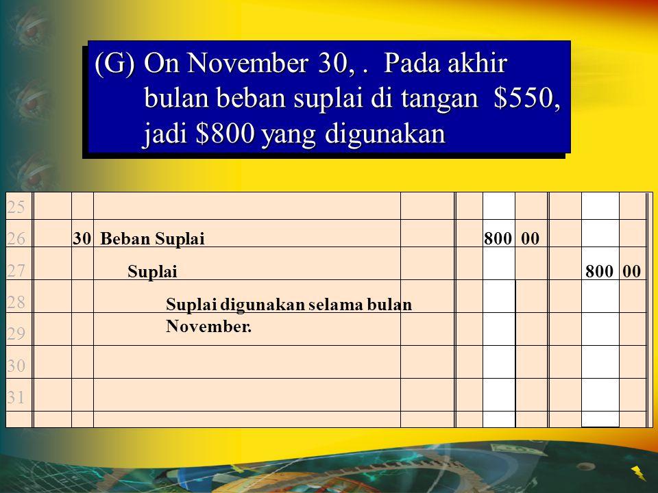 (G)On November 30,. Pada akhir bulan beban suplai di tangan $550, jadi $800 yang digunakan 30 Beban Suplai800 00 Suplai800 00 Suplai digunakan selama