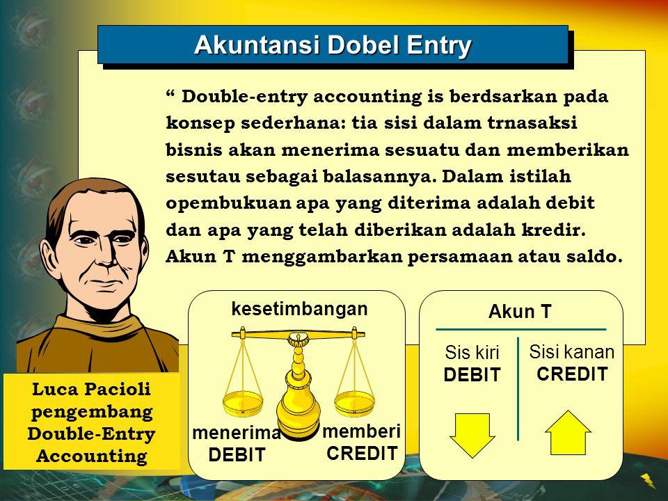 """Akuntansi Dobel Entry """" Double-entry accounting is berdsarkan pada konsep sederhana: tia sisi dalam trnasaksi bisnis akan menerima sesuatu dan memberi"""