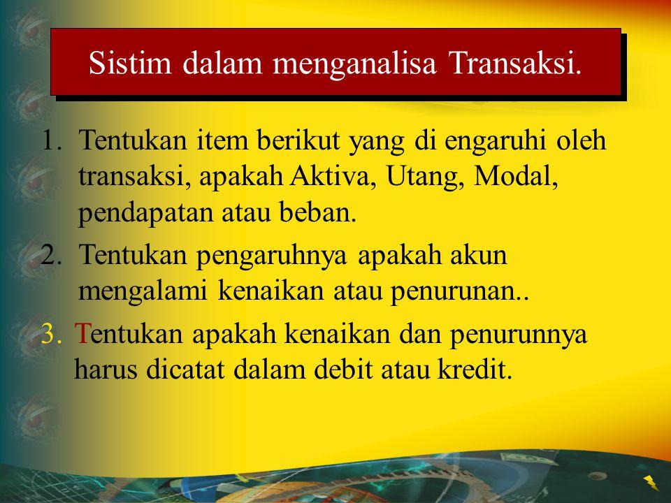 1.Tentukan item berikut yang di engaruhi oleh transaksi, apakah Aktiva, Utang, Modal, pendapatan atau beban. 2.Tentukan pengaruhnya apakah akun mengal