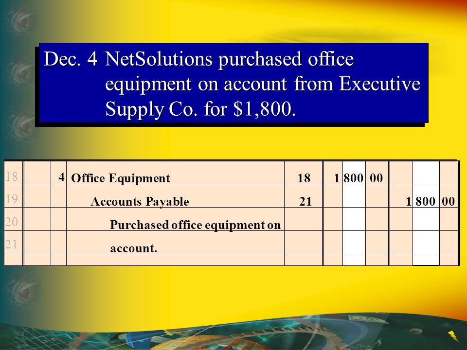 Dec.4NetSolutions purchased office equipment on account from Executive Supply Co.