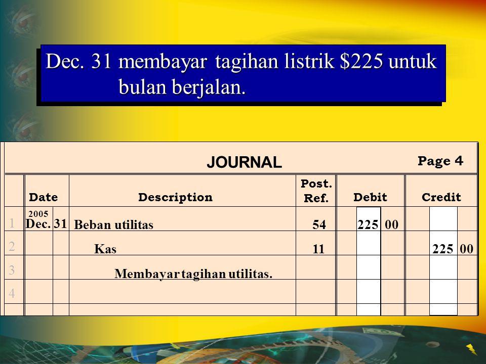 Dec. 31membayar tagihan listrik $225 untuk bulan berjalan. Post. Ref. JOURNAL DateDescriptionDebitCredit Page 4 12341234 Dec.31 2005 Beban utilitas542