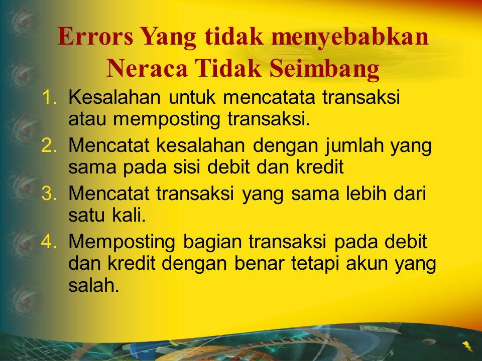 1.Kesalahan untuk mencatata transaksi atau memposting transaksi. 2.Mencatat kesalahan dengan jumlah yang sama pada sisi debit dan kredit 3.Mencatat tr