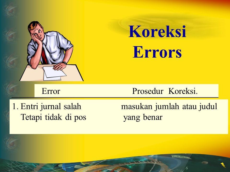 Error Correction Procedure 1.Entri jurnal salah masukan jumlah atau judul Tetapi tidak di pos yang benar Error Prosedur Koreksi. Koreksi Errors