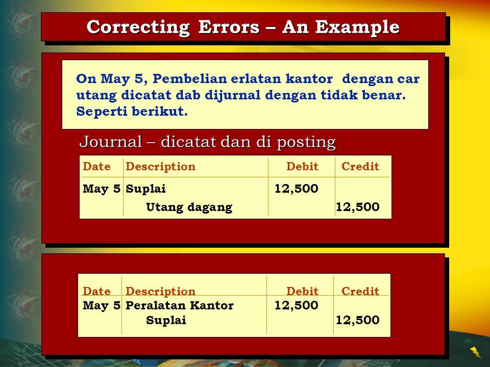 DateDescriptionDebitCredit May 5Peralatan Kantor12,500 Suplai12,500 Journal – dicatat dan di posting Correcting Errors – An Example On May 5, Pembelia