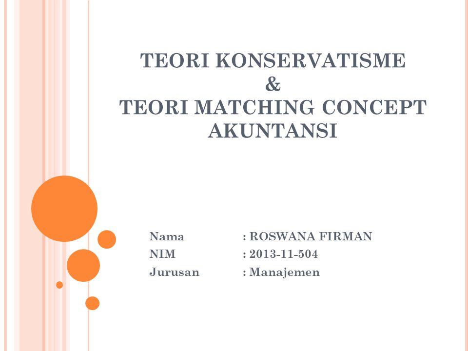 TEORI KONSERVATISME & TEORI MATCHING CONCEPT AKUNTANSI Nama: ROSWANA FIRMAN NIM: 2013-11-504 Jurusan: Manajemen