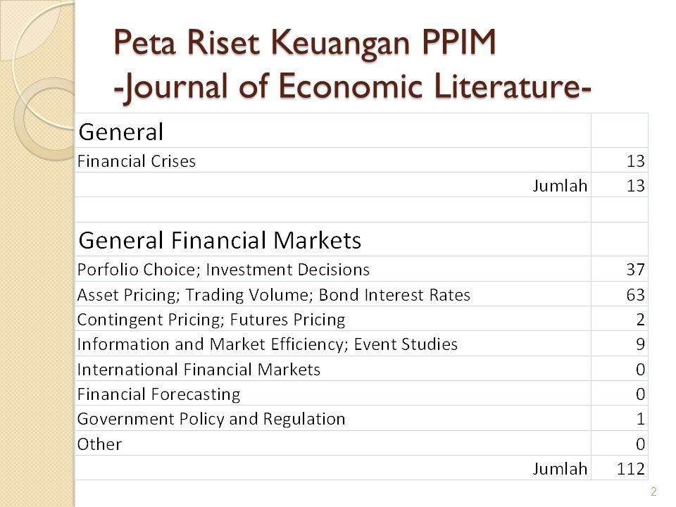 Peta Riset Keuangan PPIM -Journal of Economic Literature- 2