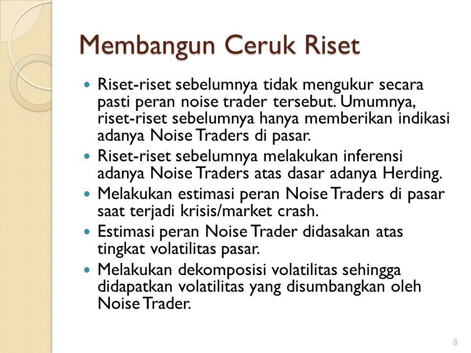 Membangun Ceruk Riset Riset-riset sebelumnya tidak mengukur secara pasti peran noise trader tersebut. Umumnya, riset-riset sebelumnya hanya memberikan