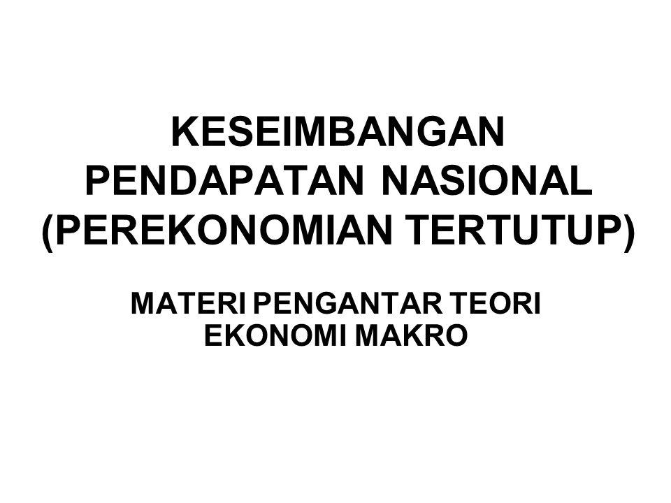 KESEIMBANGAN PENDAPATAN NASIONAL (PEREKONOMIAN TERTUTUP) MATERI PENGANTAR TEORI EKONOMI MAKRO
