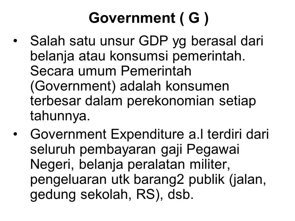 Government ( G ) Salah satu unsur GDP yg berasal dari belanja atau konsumsi pemerintah.