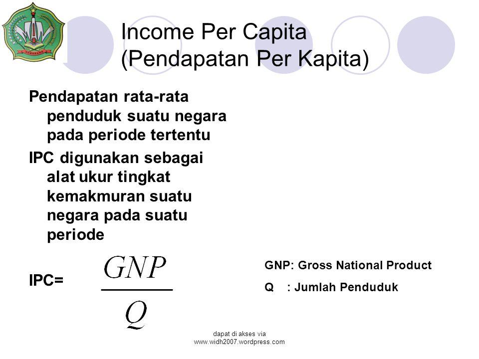 dapat di akses via www.widh2007.wordpress.com Income Per Capita (Pendapatan Per Kapita) Pendapatan rata-rata penduduk suatu negara pada periode tertentu IPC digunakan sebagai alat ukur tingkat kemakmuran suatu negara pada suatu periode IPC= GNP: Gross National Product Q : Jumlah Penduduk
