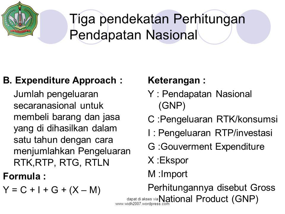 dapat di akses via www.widh2007.wordpress.com Tiga pendekatan Perhitungan Pendapatan Nasional B. Expenditure Approach : Jumlah pengeluaran secaranasio
