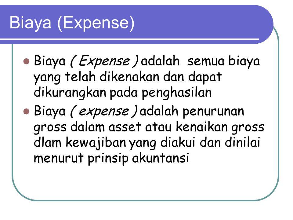 Biaya (Expense) Biaya ( Expense ) adalah semua biaya yang telah dikenakan dan dapat dikurangkan pada penghasilan Biaya ( expense ) adalah penurunan gross dalam asset atau kenaikan gross dlam kewajiban yang diakui dan dinilai menurut prinsip akuntansi