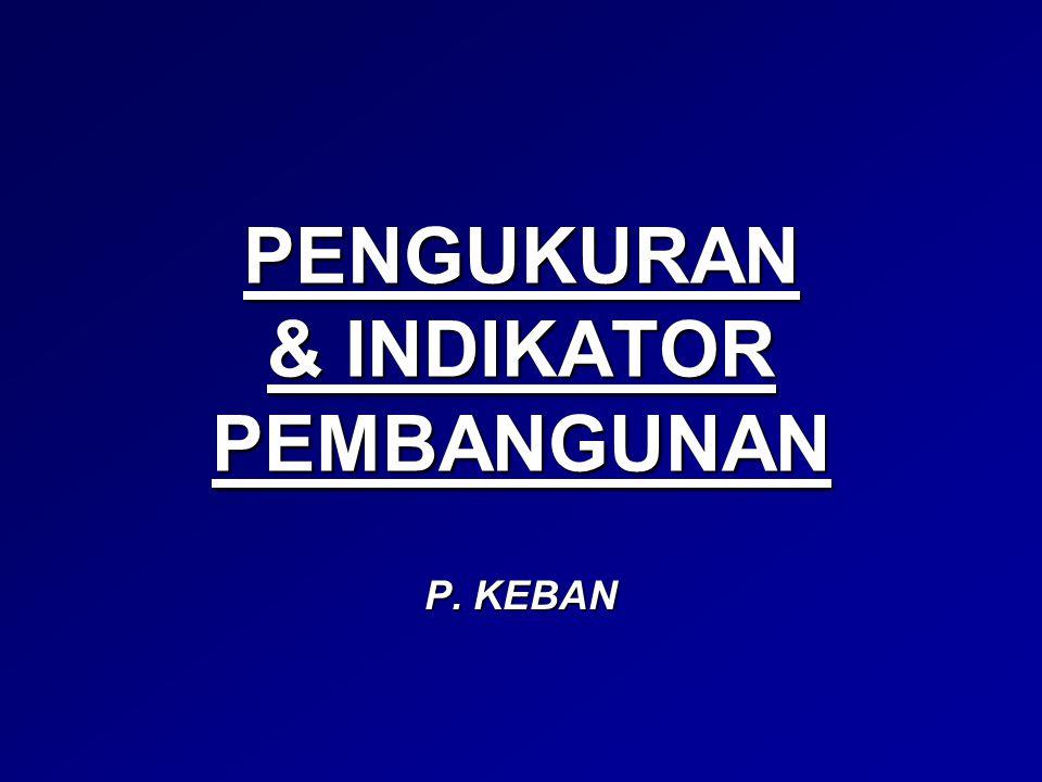 PENGUKURAN & INDIKATOR PEMBANGUNAN P. KEBAN
