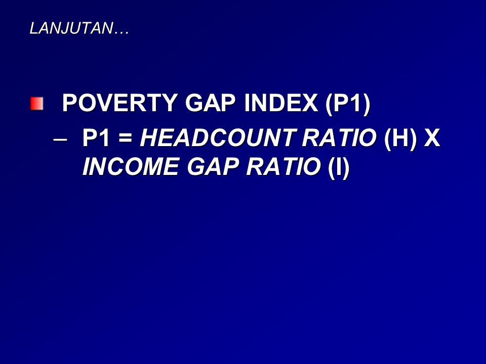 LANJUTAN… POVERTY GAP INDEX (P1) –P1 = HEADCOUNT RATIO (H) X INCOME GAP RATIO (I)
