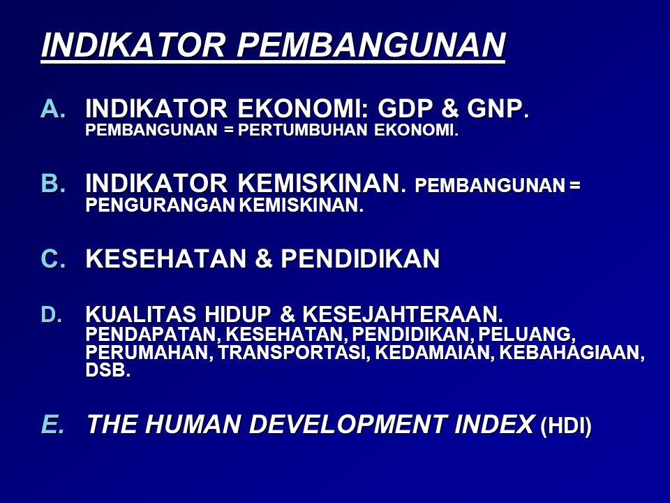 INDIKATOR PEMBANGUNAN A.INDIKATOR EKONOMI: GDP & GNP. PEMBANGUNAN = PERTUMBUHAN EKONOMI. B.INDIKATOR KEMISKINAN. PEMBANGUNAN = PENGURANGAN KEMISKINAN.