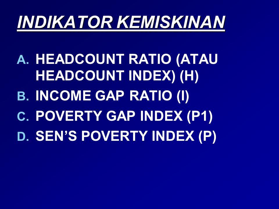 INDIKATOR KEMISKINAN A. A. HEADCOUNT RATIO (ATAU HEADCOUNT INDEX) (H) B. B. INCOME GAP RATIO (I) C. C. POVERTY GAP INDEX (P1) D. D. SEN'S POVERTY INDE