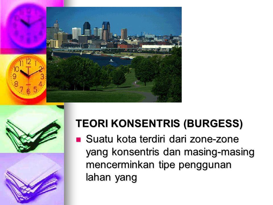 TEORI KONSENTRIS (BURGESS) Suatu kota terdiri dari zone-zone yang konsentris dan masing-masing mencerminkan tipe penggunan lahan yang Suatu kota terdi