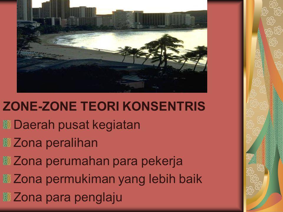 ZONE-ZONE TEORI KONSENTRIS Daerah pusat kegiatan Zona peralihan Zona perumahan para pekerja Zona permukiman yang lebih baik Zona para penglaju