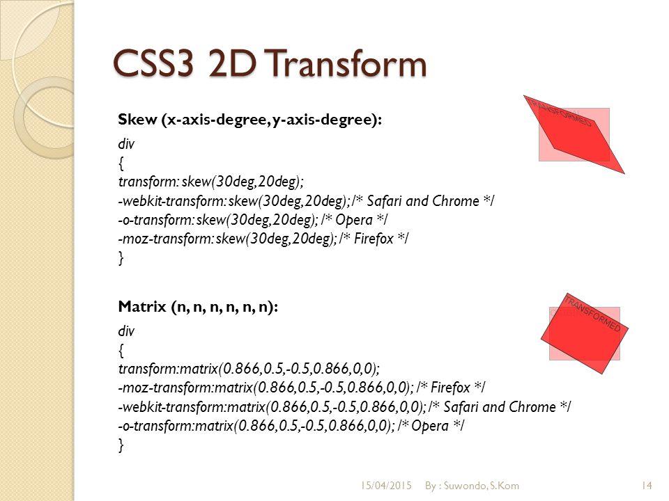 CSS3 2D Transform Skew (x-axis-degree, y-axis-degree): div { transform: skew(30deg,20deg); -webkit-transform: skew(30deg,20deg); /* Safari and Chrome */ -o-transform: skew(30deg,20deg); /* Opera */ -moz-transform: skew(30deg,20deg); /* Firefox */ } Matrix (n, n, n, n, n, n): div { transform:matrix(0.866,0.5,-0.5,0.866,0,0); -moz-transform:matrix(0.866,0.5,-0.5,0.866,0,0); /* Firefox */ -webkit-transform:matrix(0.866,0.5,-0.5,0.866,0,0); /* Safari and Chrome */ -o-transform:matrix(0.866,0.5,-0.5,0.866,0,0); /* Opera */ } 15/04/2015By : Suwondo, S.Kom14