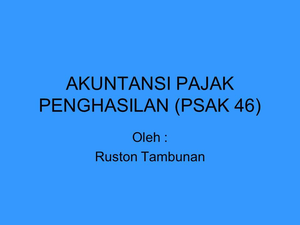 Akuntansi Pajak Penghasilan (PSAK46) 1.Mengatur perlakuan akuntansi PPh 2.Recognize terhadap future tax effects yg timbul sbg.