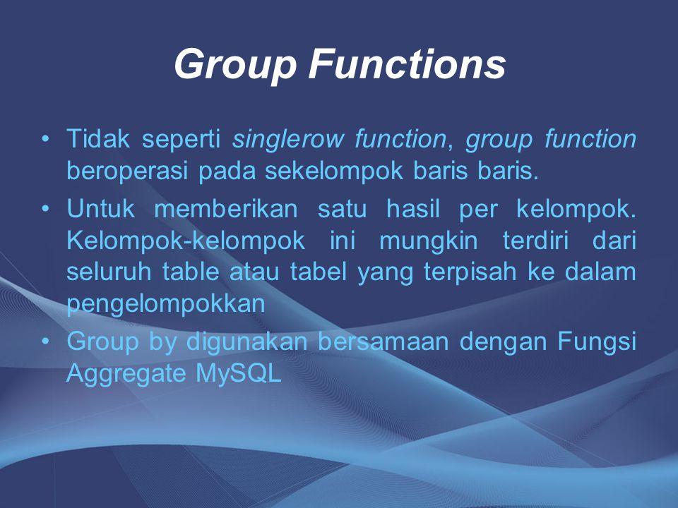 Fungsi Aggregate Adalah fungsi yang digunakan untuk menghitung nilai dari sebuah nilai atau sekelompok nilai berdasarkan kegunaan fungsi tersebut : Fungsi Aggregate terdiri dari : 1.SUM () digunakan untuk menjumlahkan nilai 2.AVG() digunakan untuk menghitung rata-rata 3.MIN() digunakan untuk mencari nilai terkecil 4.MAX() digunakan untuk mencari nilai terbesar 5.COUNT() digunakan untuk menghitung baris atau nilai