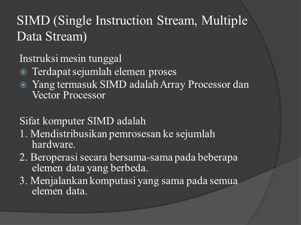 SIMD (Single Instruction Stream, Multiple Data Stream) Instruksi mesin tunggal  Terdapat sejumlah elemen proses  Yang termasuk SIMD adalah Array Processor dan Vector Processor Sifat komputer SIMD adalah 1.