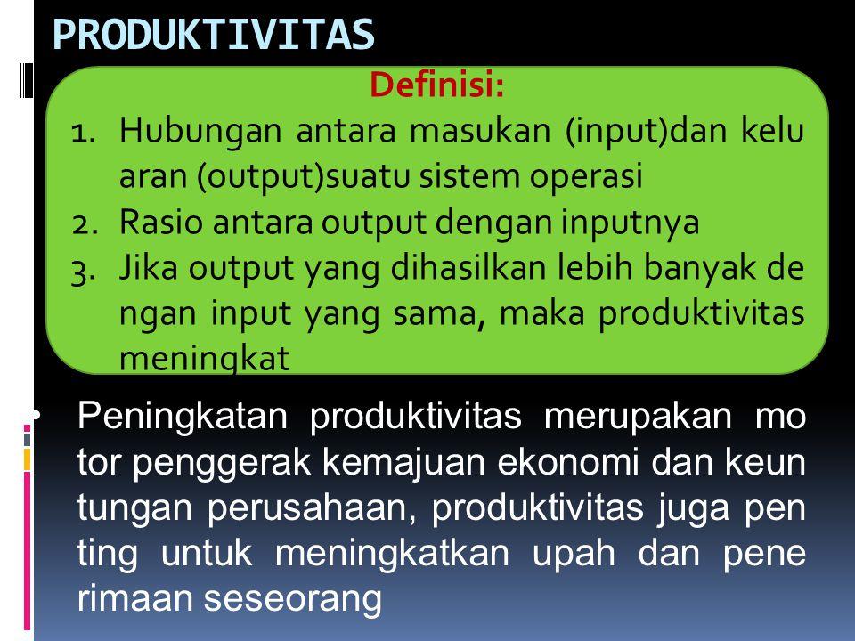 PRODUKTIVITAS Definisi: 1.Hubungan antara masukan (input)dan kelu aran (output)suatu sistem operasi 2.Rasio antara output dengan inputnya 3.Jika outpu