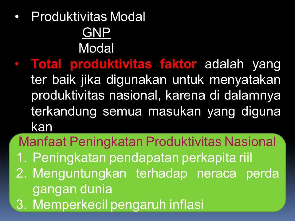 Produktivitas Modal GNP Modal Total produktivitas faktor adalah yang ter baik jika digunakan untuk menyatakan produktivitas nasional, karena di dalamn