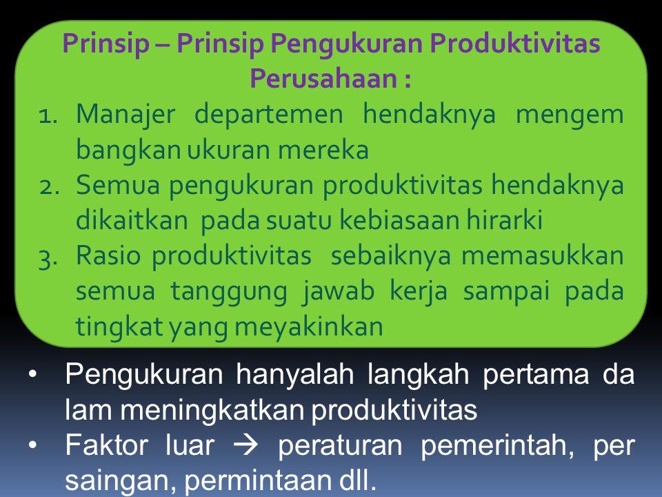 Prinsip – Prinsip Pengukuran Produktivitas Perusahaan : 1.Manajer departemen hendaknya mengem bangkan ukuran mereka 2.Semua pengukuran produktivitas h
