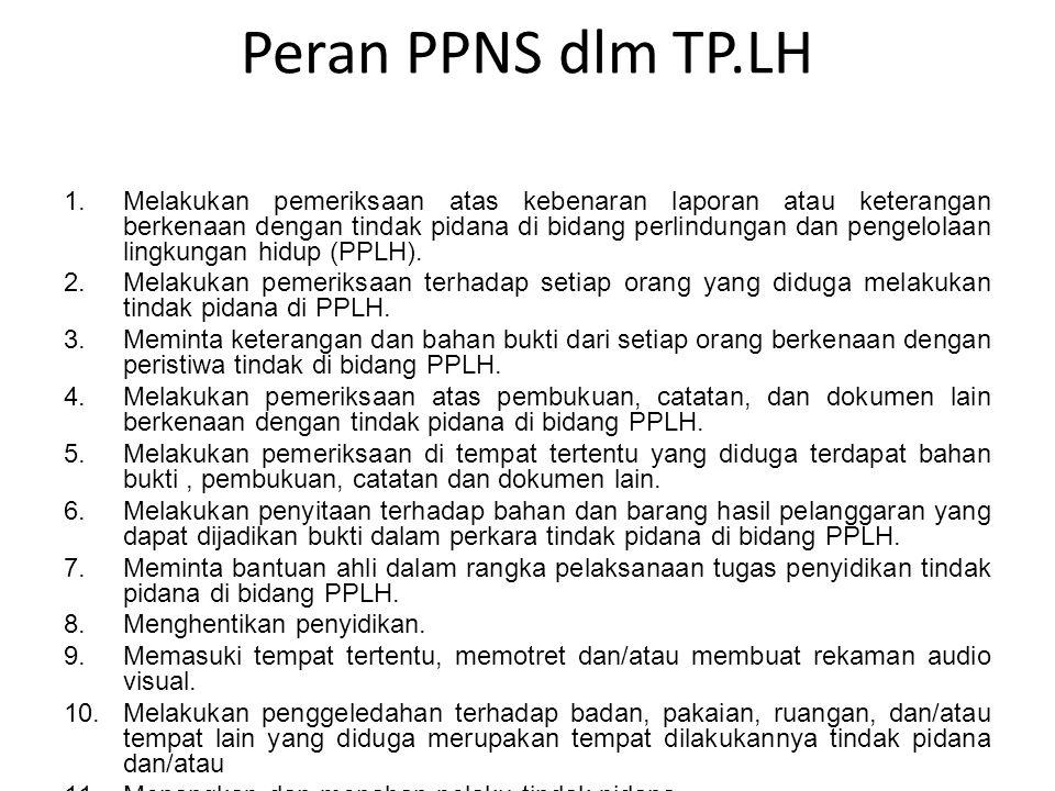 Peran PPNS dlm TP.LH 1.Melakukan pemeriksaan atas kebenaran laporan atau keterangan berkenaan dengan tindak pidana di bidang perlindungan dan pengelol
