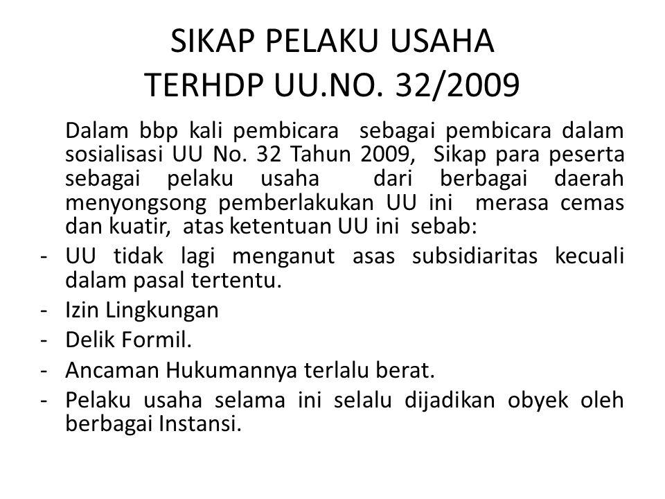SIKAP PELAKU USAHA TERHDP UU.NO. 32/2009 Dalam bbp kali pembicara sebagai pembicara dalam sosialisasi UU No. 32 Tahun 2009, Sikap para peserta sebagai