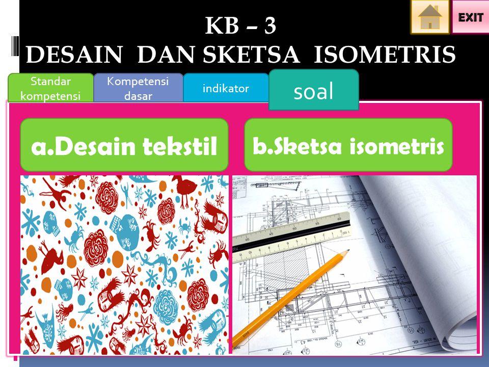 Standar kompetensi Kompetensi dasar indikator soal a.Desain tekstil b.Sketsa isometris KB – 3 DESAIN DAN SKETSA ISOMETRIS
