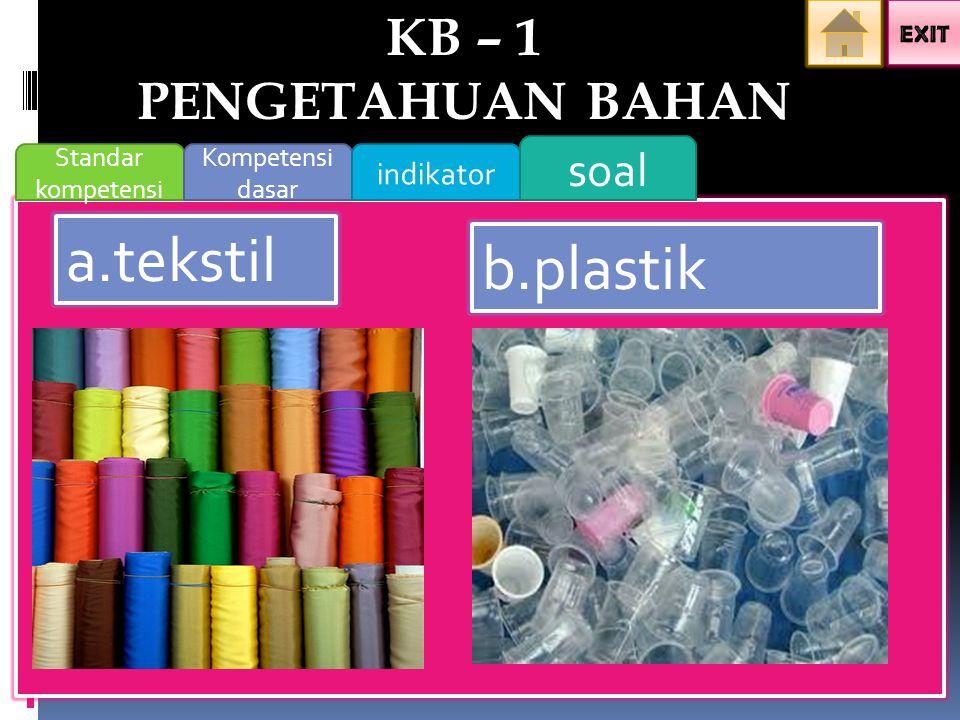 Standar kompetensi Kompetensi dasar indikator soal a.tekstil b.plastik KB – 1 PENGETAHUAN BAHAN