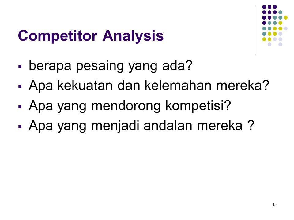 15 Competitor Analysis  berapa pesaing yang ada?  Apa kekuatan dan kelemahan mereka?  Apa yang mendorong kompetisi?  Apa yang menjadi andalan mere
