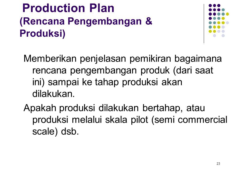 23 Production Plan (Rencana Pengembangan & Produksi) Memberikan penjelasan pemikiran bagaimana rencana pengembangan produk (dari saat ini) sampai ke tahap produksi akan dilakukan.