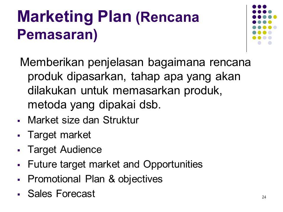 24 Marketing Plan (Rencana Pemasaran) Memberikan penjelasan bagaimana rencana produk dipasarkan, tahap apa yang akan dilakukan untuk memasarkan produk, metoda yang dipakai dsb.