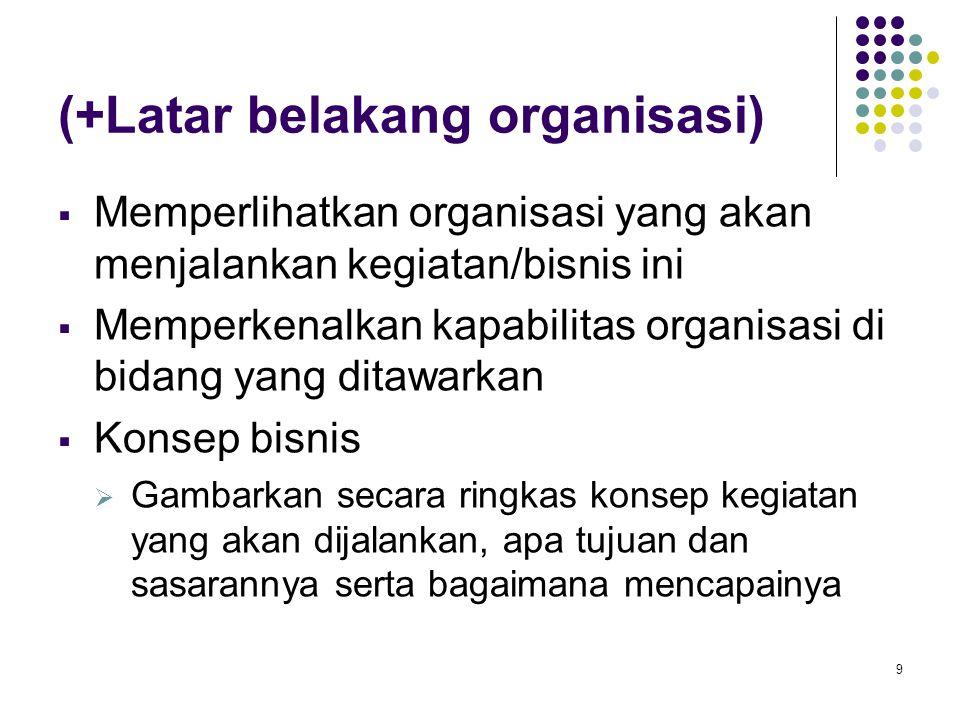 9 (+Latar belakang organisasi)  Memperlihatkan organisasi yang akan menjalankan kegiatan/bisnis ini  Memperkenalkan kapabilitas organisasi di bidang