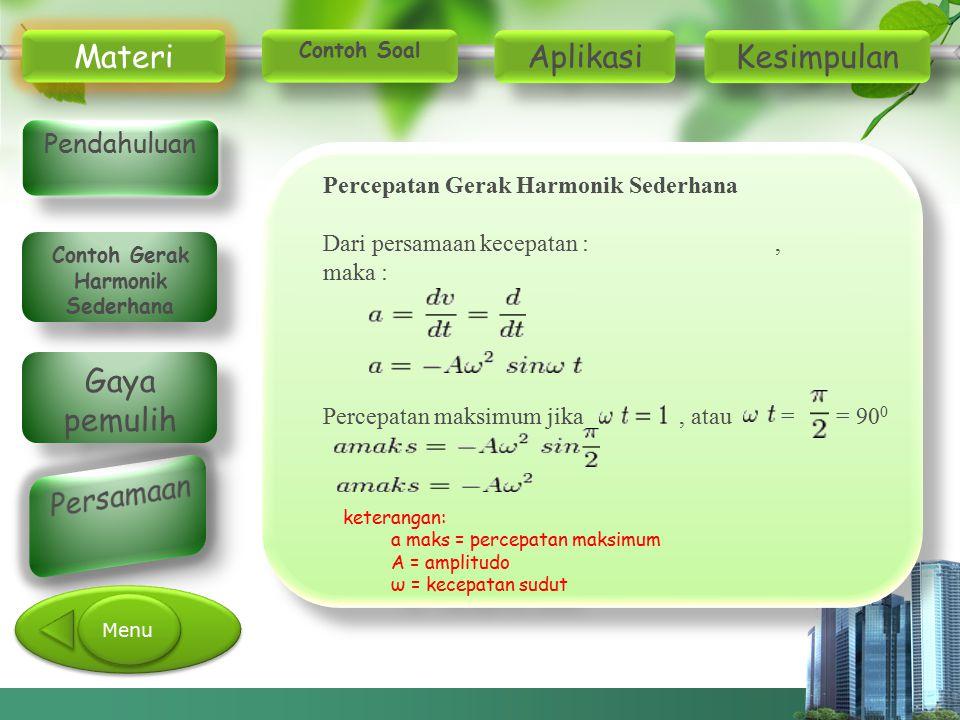 Percepatan Gerak Harmonik Sederhana Dari persamaan kecepatan :, maka : Percepatan maksimum jika, atau = = 90 0 keterangan: a maks = percepatan maksimu