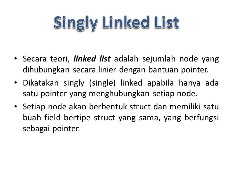 Secara teori, linked list adalah sejumlah node yang dihubungkan secara linier dengan bantuan pointer.