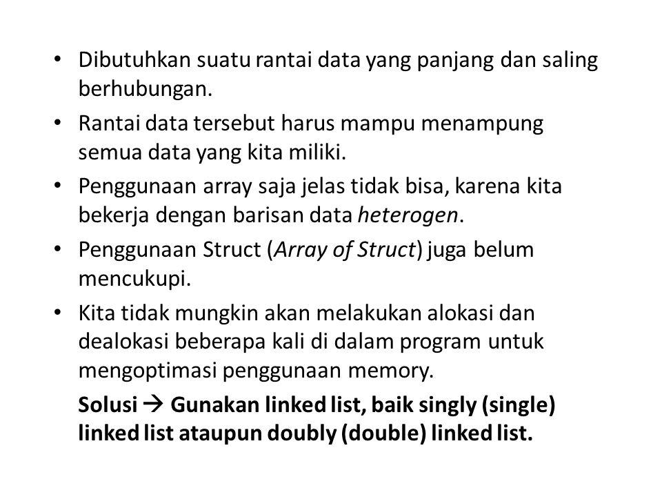 Dibutuhkan suatu rantai data yang panjang dan saling berhubungan. Rantai data tersebut harus mampu menampung semua data yang kita miliki. Penggunaan a