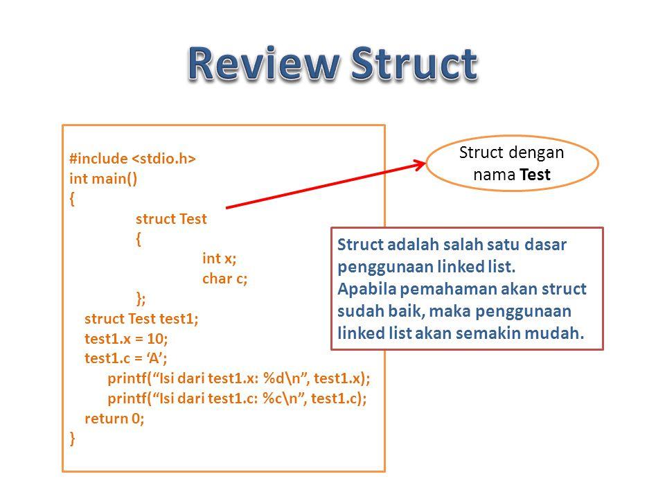 #include int main() { struct Test { int x; char c; }; struct Test test1; test1.x = 10; test1.c = 'A'; printf( Isi dari test1.x: %d\n , test1.x); printf( Isi dari test1.c: %c\n , test1.c); return 0; } Struct dengan nama Test Struct adalah salah satu dasar penggunaan linked list.