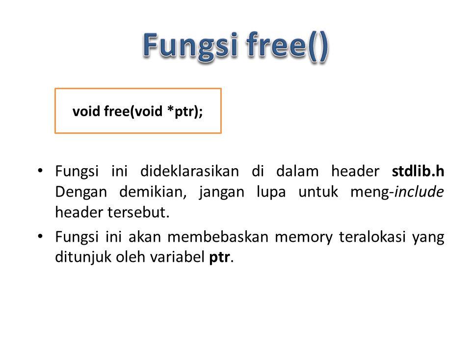 Fungsi ini dideklarasikan di dalam header stdlib.h Dengan demikian, jangan lupa untuk meng-include header tersebut.