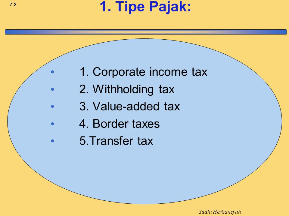 Yudhi Herliansyah 7-2 1. Tipe Pajak: 1. Corporate income tax 2. Withholding tax 3. Value-added tax 4. Border taxes 5.Transfer tax