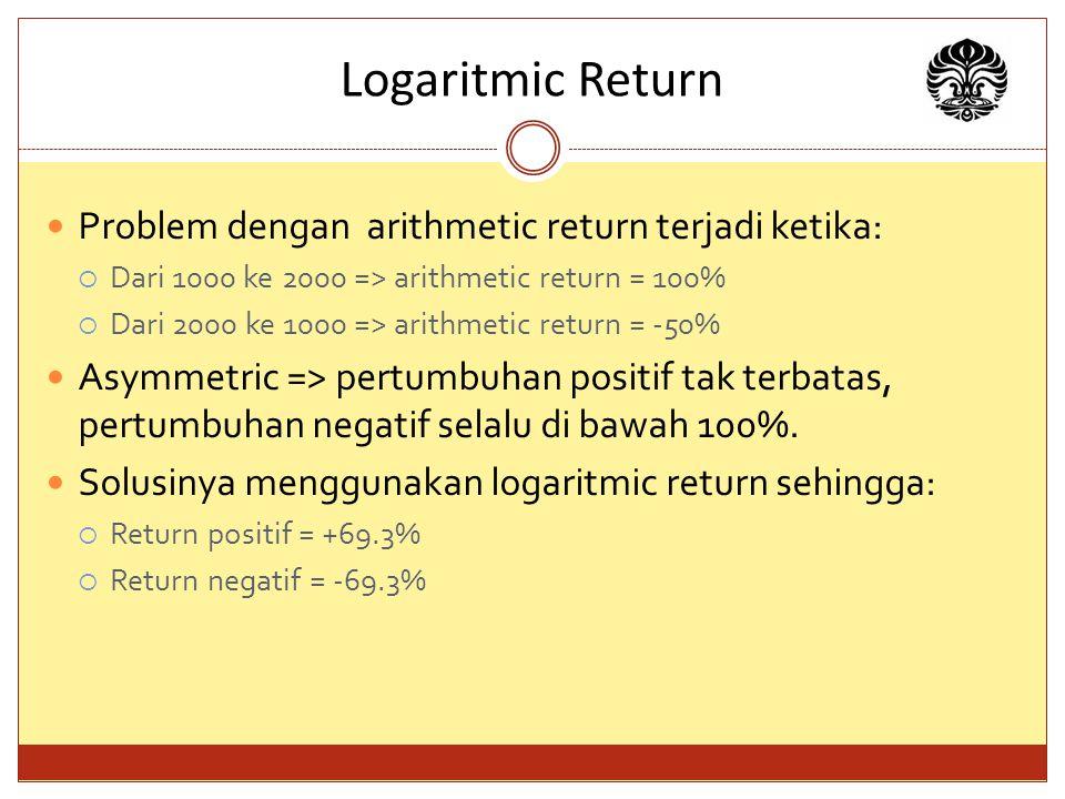 Logaritmic Return Problem dengan arithmetic return terjadi ketika:  Dari 1000 ke 2000 => arithmetic return = 100%  Dari 2000 ke 1000 => arithmetic return = -50% Asymmetric => pertumbuhan positif tak terbatas, pertumbuhan negatif selalu di bawah 100%.