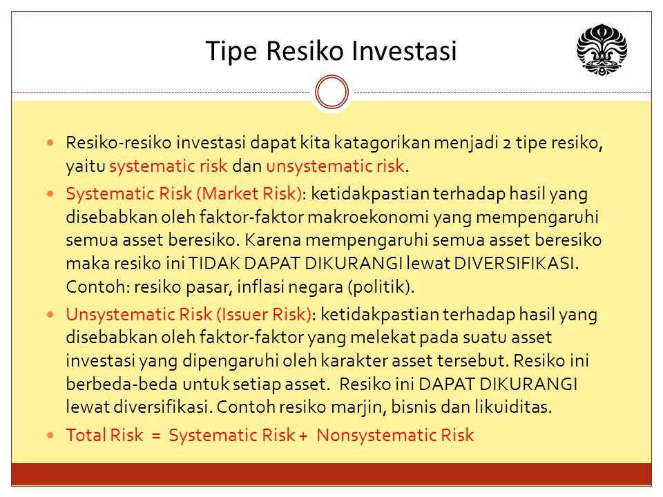 Tipe Resiko Investasi Resiko-resiko investasi dapat kita katagorikan menjadi 2 tipe resiko, yaitu systematic risk dan unsystematic risk.