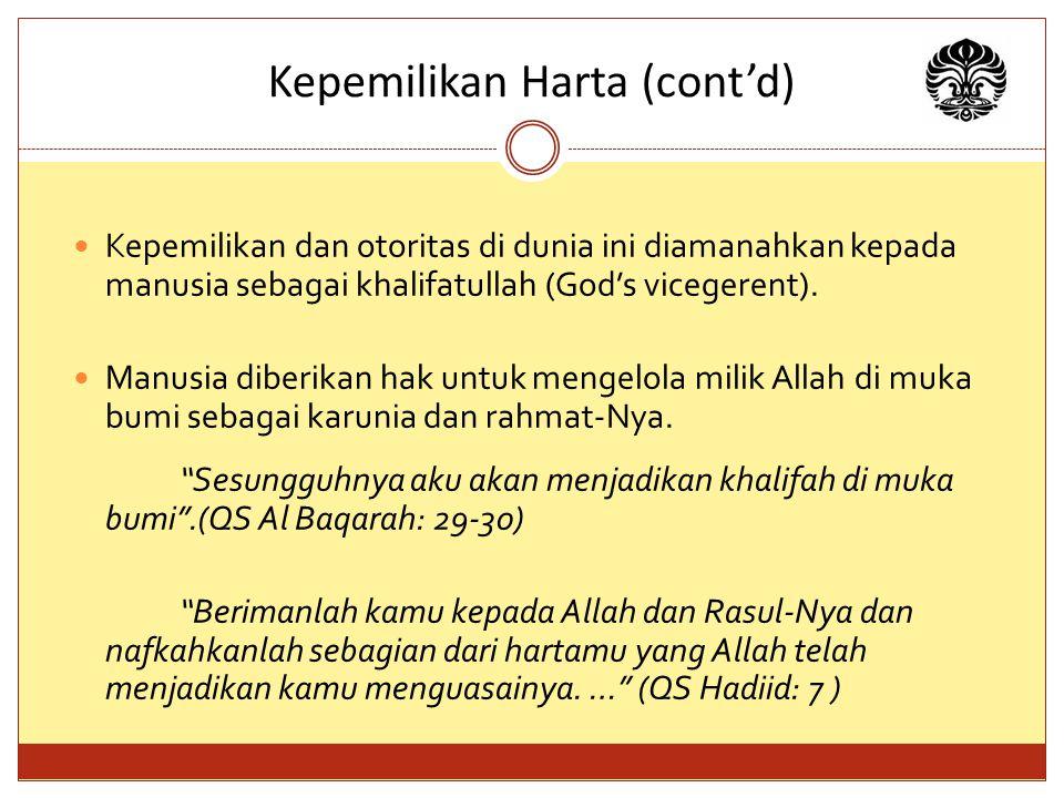 Kepemilikan Harta (cont'd) Kepemilikan dan otoritas di dunia ini diamanahkan kepada manusia sebagai khalifatullah (God's vicegerent).