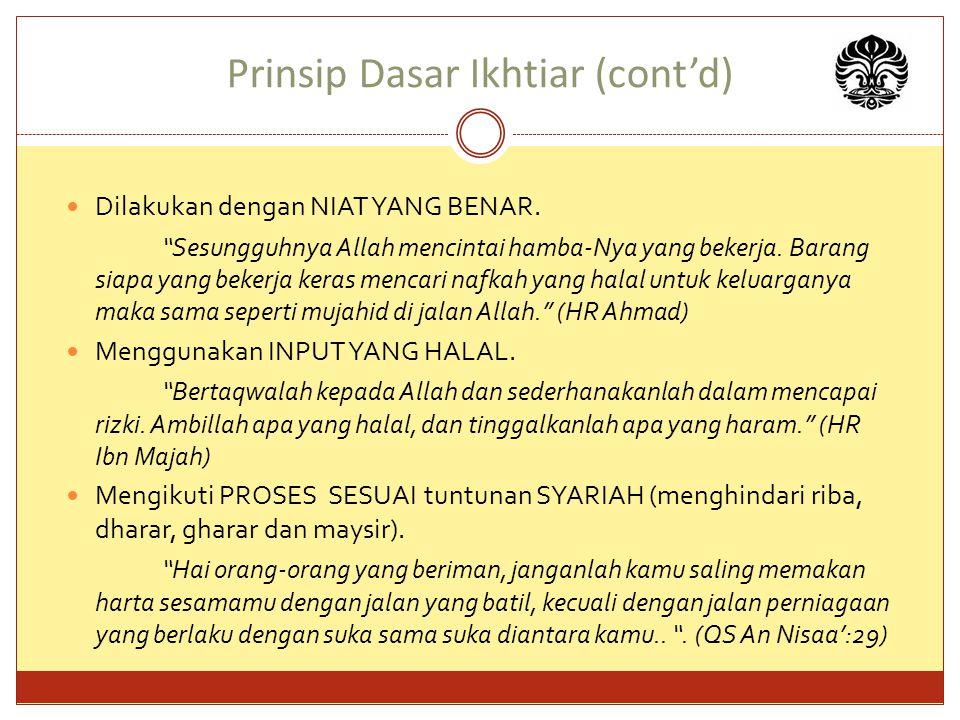 Prinsip Dasar Ikhtiar (cont'd) Dilakukan dengan NIAT YANG BENAR.